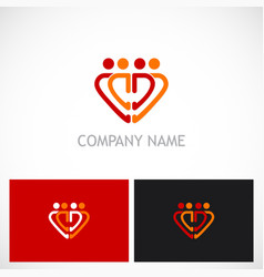love heart people group logo vector image