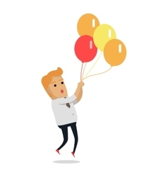 Man flying on color balloons vector