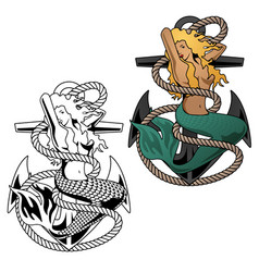 mermaid woman on anchor vector image vector image