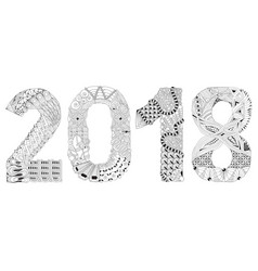 number 2018 zentangle decorative object vector image