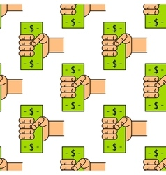 pattern with money in hand vector image vector image