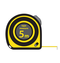Roulette construction tool yellow measure tape in vector