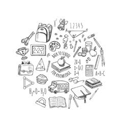 School tools sketch in a circle design vector