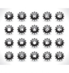 set of media buttons vector image vector image