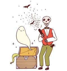 Skeleton with party poppers and a ghost vector
