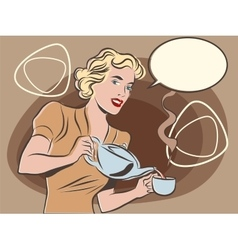 The waitress pours tea pastel retro colors vector
