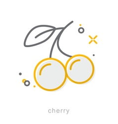 Thin line icons cherry vector