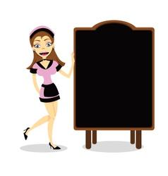 Waitress and blank Blackboard vector image