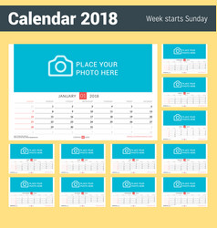 wall monthly calendar for 2018 year set of 12 vector image vector image