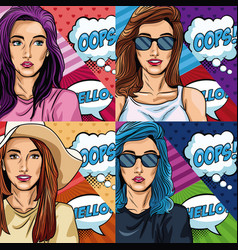 Womens with oops bubble pop art vector