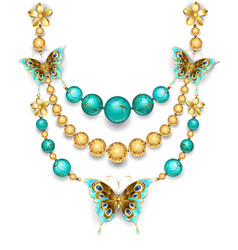 Necklace with turquoise vector