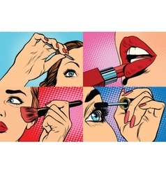 Set of makeup and cosmetic beauty woman vector
