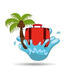 Suitcase water splash palm summer vacation vector