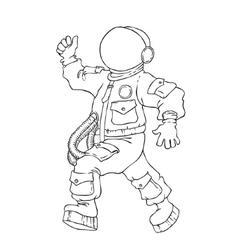 Walking and cheering astronaut in vector