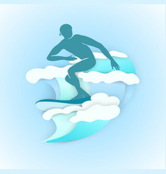 silhuatte men surfing vector image