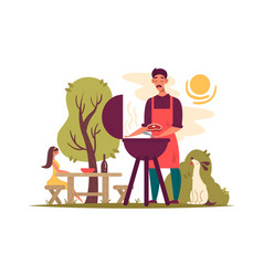 Man preparing barbecue on grill vector