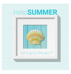 hello summer background with seashell wall art vector image
