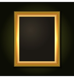 Gold picture frame with dark canvas vector