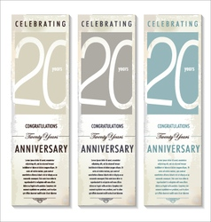 20 years Anniversary retro banner set vector image vector image