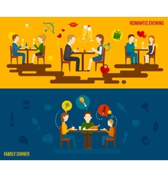 People in restaurant banner vector