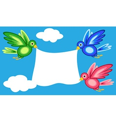Graphic shape birds holding banner vector