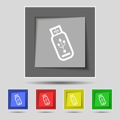 Usb flash drive icon sign on original five colored vector