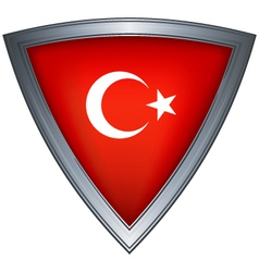 Steel shield with flag republic of turkey vector