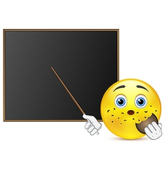 Student with cookie around blackboard vector
