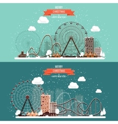 Ferris wheel winter carnival vector