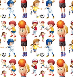 Seamless children playing sports vector