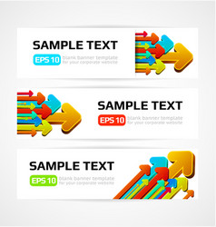 set of three banners with 3d arrows vector image