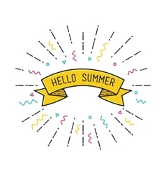 Hello summer poster flat design vector