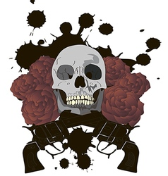 Skull with crossed guns and roses vector