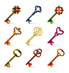 Old keys icons set vector