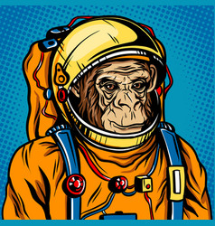 astronaut monkey space suit pop art style vector image