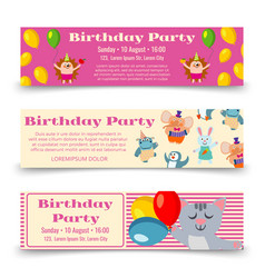birthday party horizontal banners template with vector image vector image
