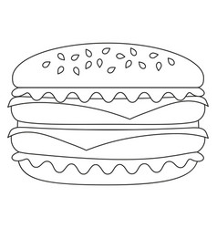 Black and white burger hamburger cheeseburger icon vector