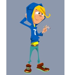cartoon teenager standing with a cigarette vector image vector image