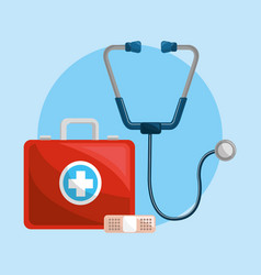 Color healthcare stethoscope and band aid icon vector