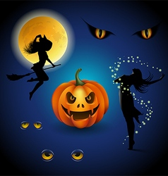 Colorful halloween decorative elements vector image vector image