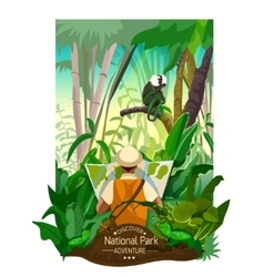 Colorful tropical forest landscape poster vector