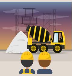 Concrete mixer under construction concept vector