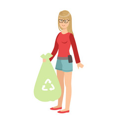 Girl with trash bag throwing garbage away cartoon vector