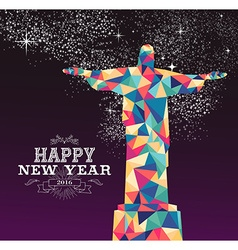 Happy new year 2016 brazil color triangle hipster vector
