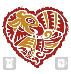 Indian pattern of bird in the shape of heart vector image vector image