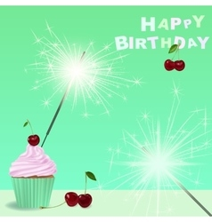Invitation to the birthday party with a cupcake vector