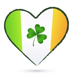 Isolated heart with green cliver and Irish flag vector image