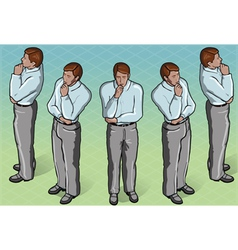 Isometric Thoughtful Standing Man vector image vector image