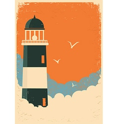 Lighthouse retro poster on old paper vector image vector image