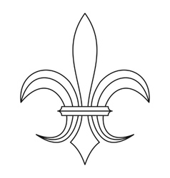 Lily heraldic emblem icon outline style vector image